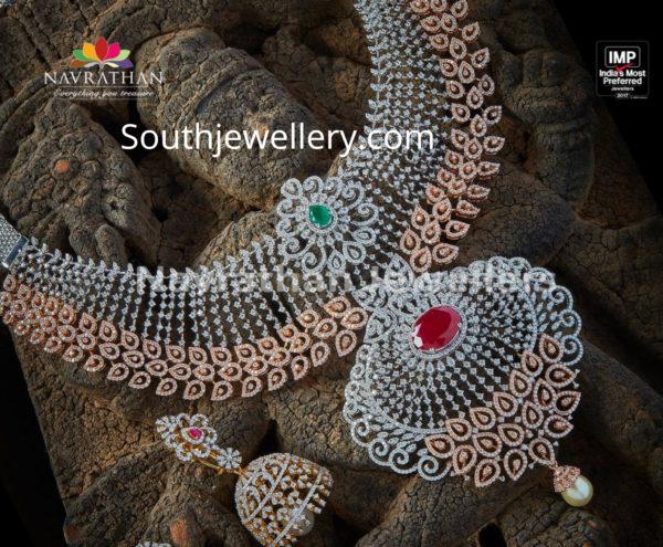 diamond necklace and jhumkas