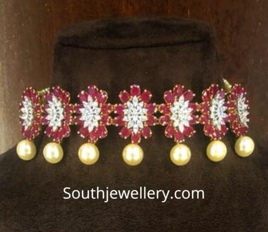 floral diamond ruby choker