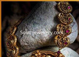 peacock necklace lakshmi pendant