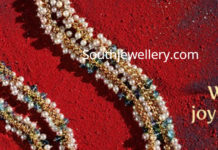 pearl necklace with ram parivar pendant