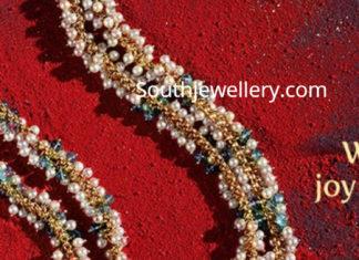 pearl necklace with ram parivar pendant