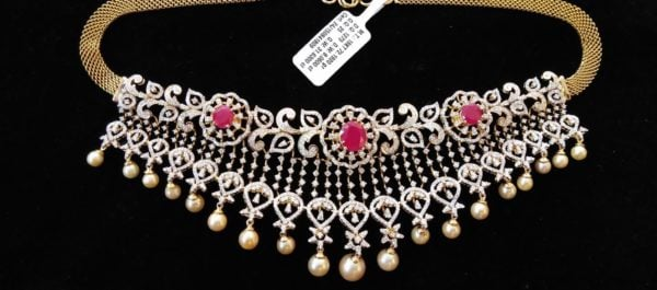 simple diamond necklace designs indian