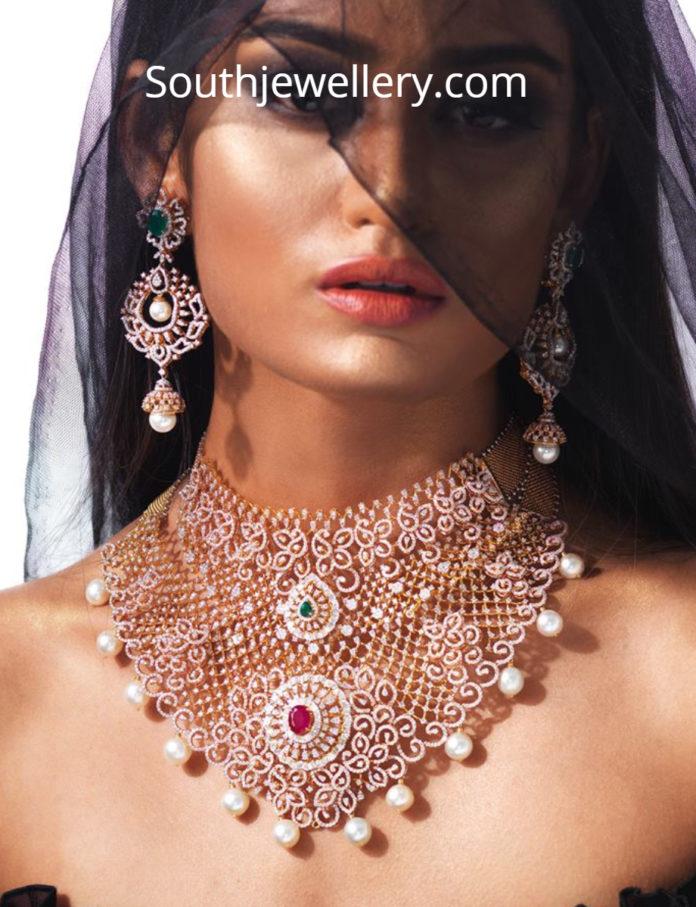 diamond choker and earrings set
