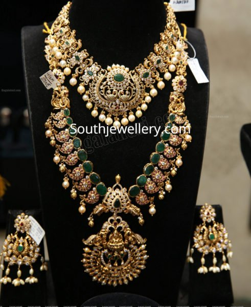 cz peacock necklace and haram