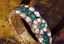 emerald polki diamond bangle