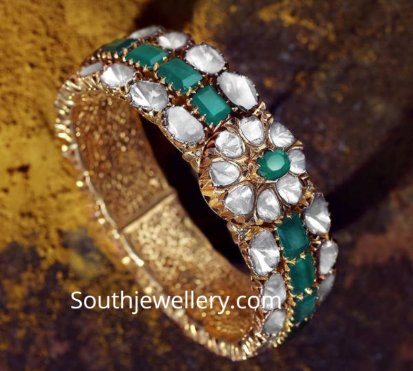 emerald polki diamond bangle