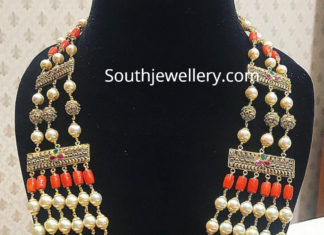 layered south sea pearl and coral beads mala