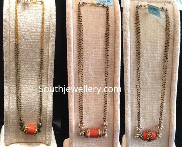 nallapusalu chains with coral lockets