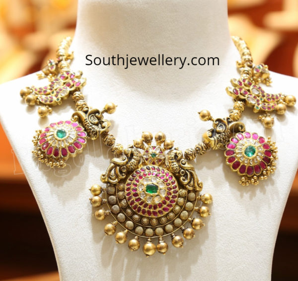 antique peacock necklace by malabar gold and diamonds