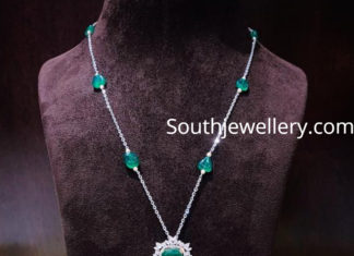 diamond emerald tassel necklace