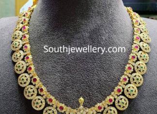 diamond haram with peacock pendant