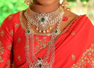 diamond jewelry for half saree function