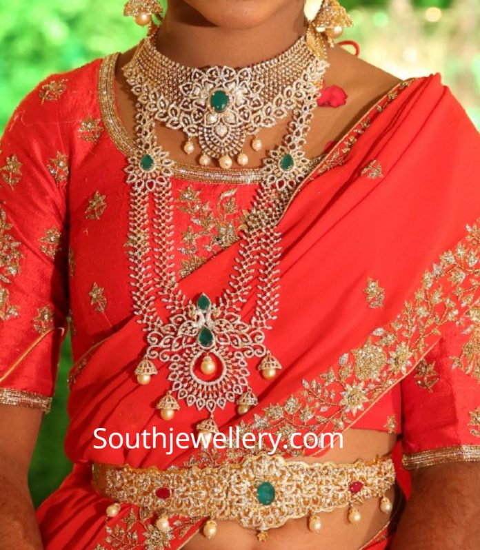 diamond jewelry for half saree function