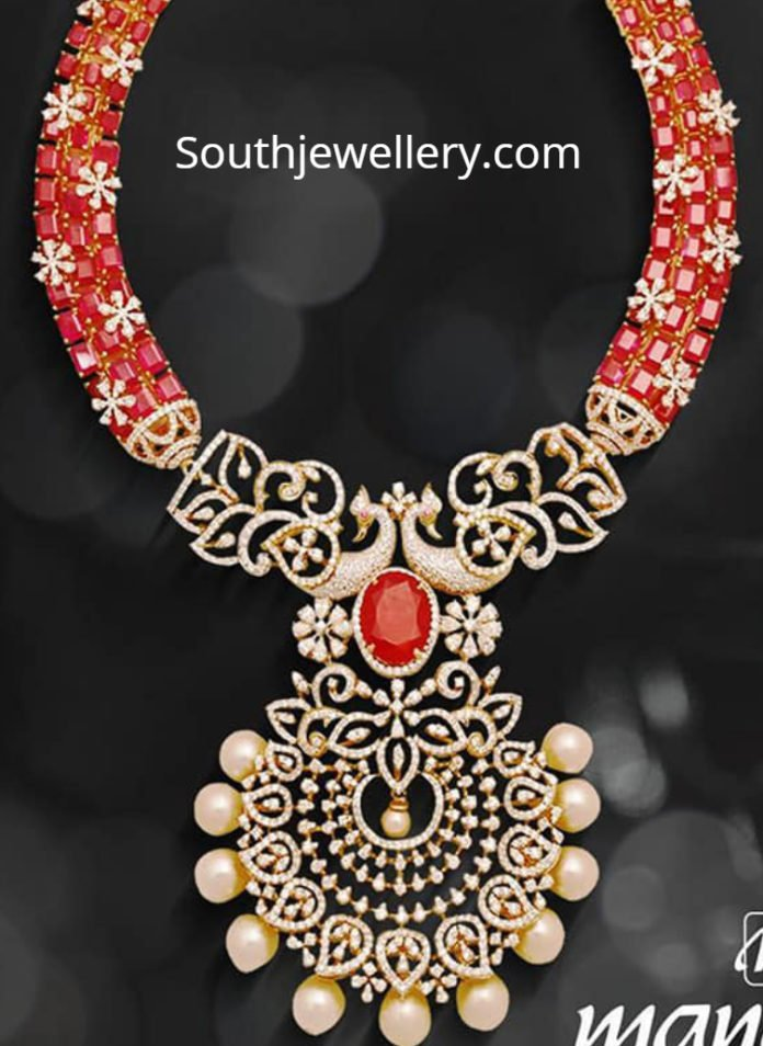 diamond ruby necklace mangatrai