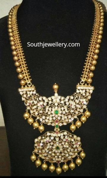 gold haram with diamond pendant