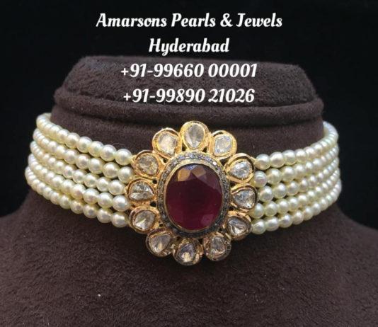 south sea pearl choker with pendant