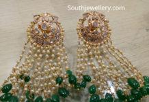 polki pearl tassel earrings