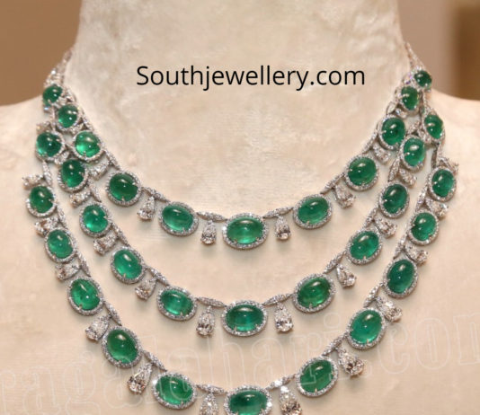 three step diamond emerald necklace