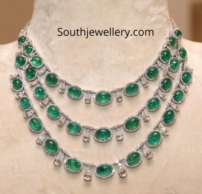 three step diamond emerald necklace