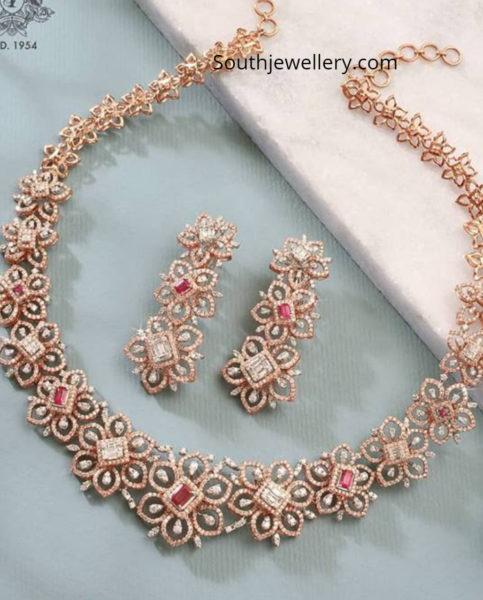 diamond ruby floral necklace set