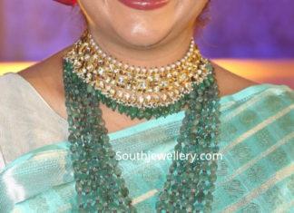 polki choker emerald beads mala