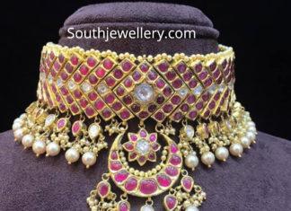 bridal ruby choker amarsons pearls