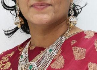 diamond haram and jhumkas by manjula jewels