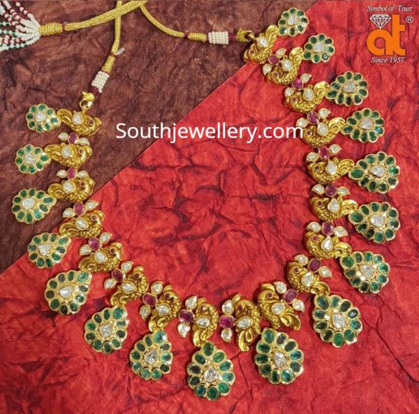 emerald peacock necklace