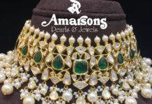 emerald polki choker designs