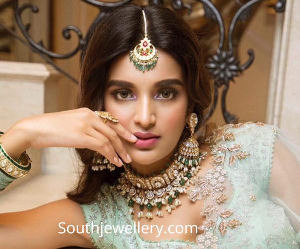 nidhhi agerwal in polki diamond choker