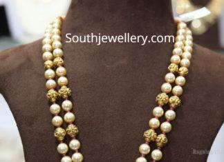pearl mala with chandbali pendant