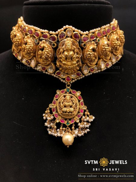 antique gold lakshmi choker