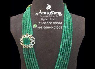 emerald mala with diamond side pendant