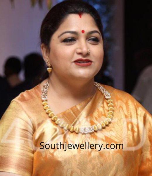 khushbu sundar gold necklace