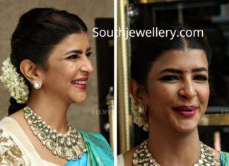 lakshmi manchu in polki diamond necklace