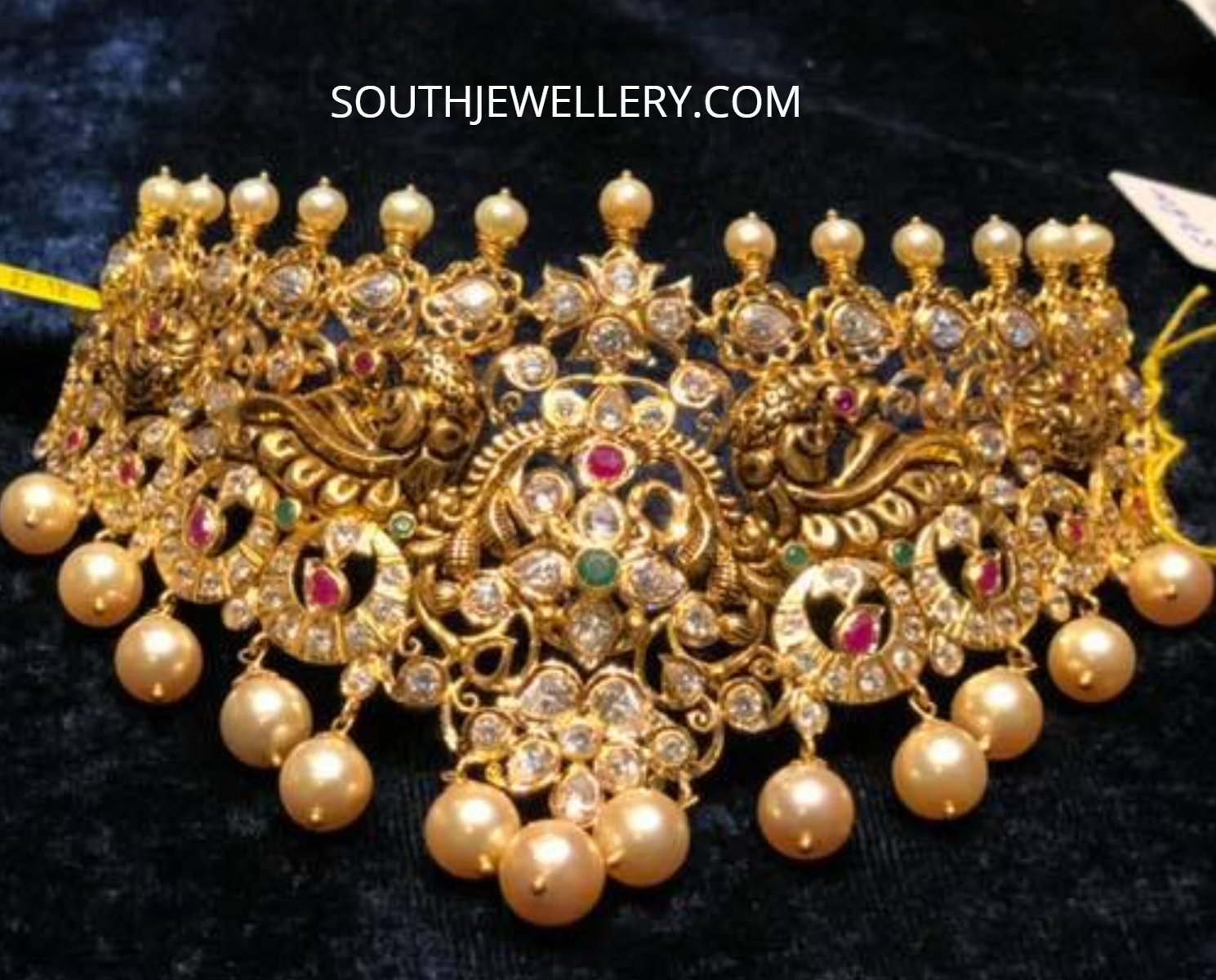 antique gold polki choker designs jewellery designs