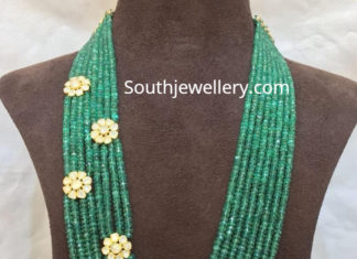 emerald beads mala with brooches