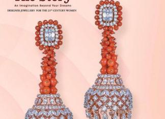 diamond and coral bead jhumkas
