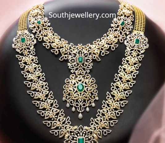 diamond necklace and haram set by grt
