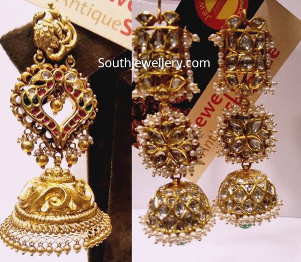 gold long jhumki designs