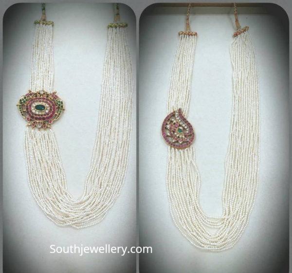 pearl strings mala with side pendants mugappu