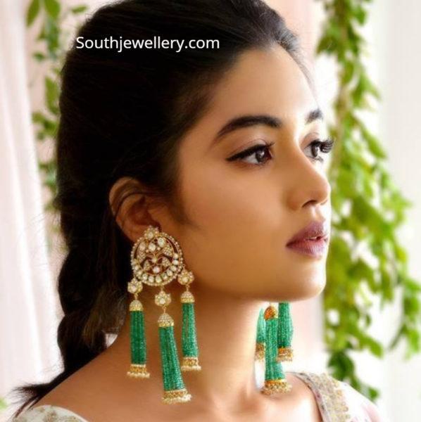 polki and emerald tassel earrings