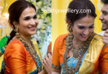 Soundarya Rajinikanth's reception and mehendi jewellery