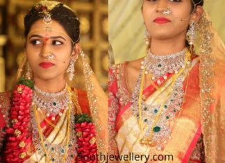 telugu bride diamond emerald jewellery