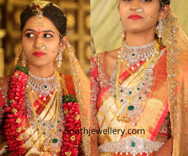telugu bride diamond emerald jewellery