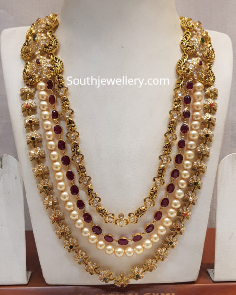 uncut diamond pearls mala
