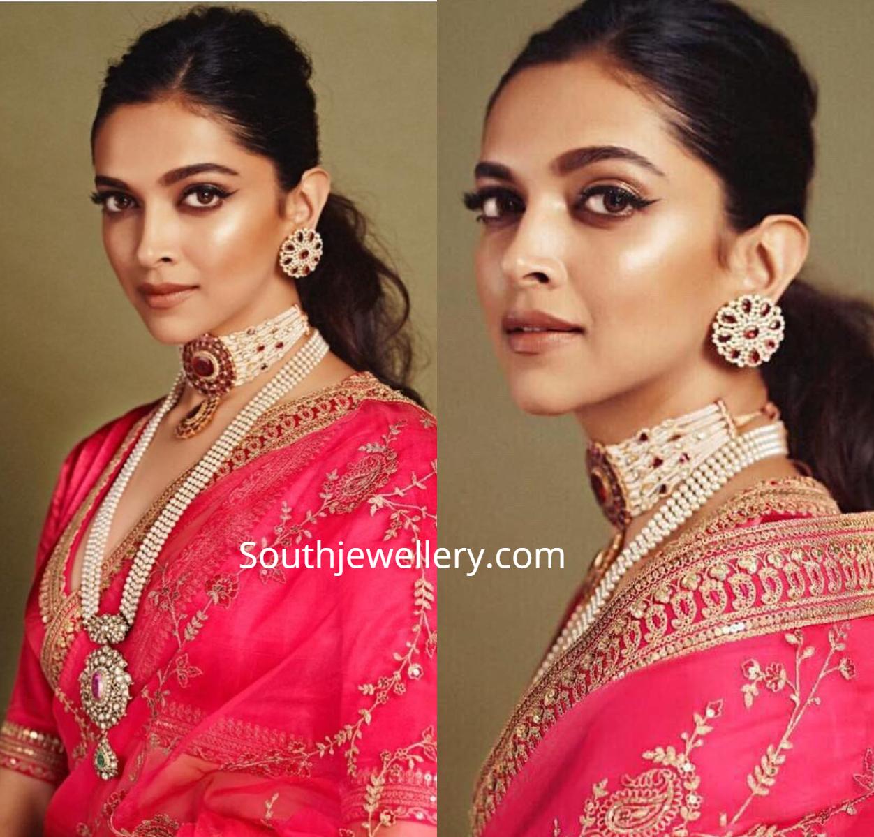 Deepika Padukone in pearl jewellery at Akash Ambani ...