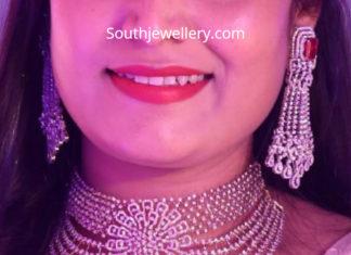 diamond choker and earrings