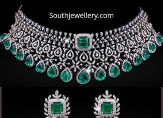 diamond emerald necklace and jhumkas