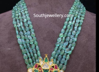 emerald beads mala with pendant